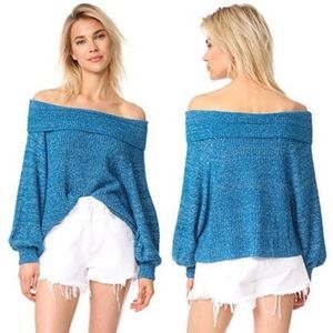 Free People Edessa Blue Knit Pullover Sweater